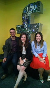 Grad Techers David LoVerme, Nicole Gonzalez, and Marin Rowe in Facebook's Cambridge office