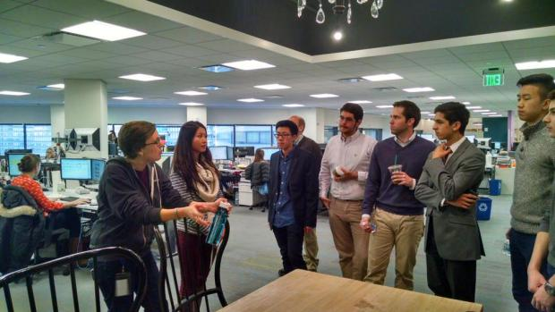 Taking a tour of Wayfair's offices with other members of the GgradTech Club.